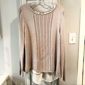 Lucky XL Sweater Tunic Layered Mauve Gold